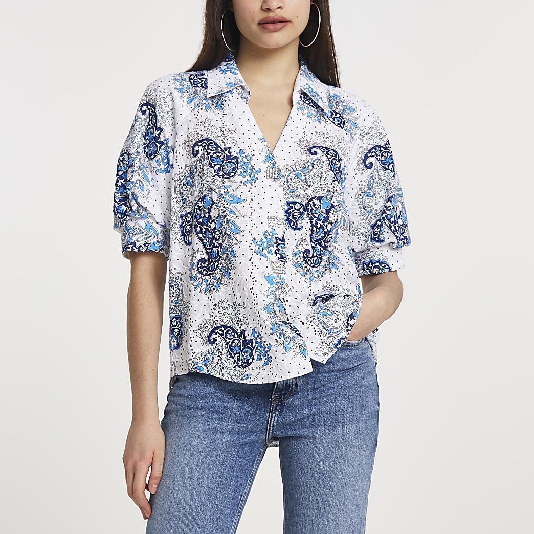Blue paisley print broderie shirt