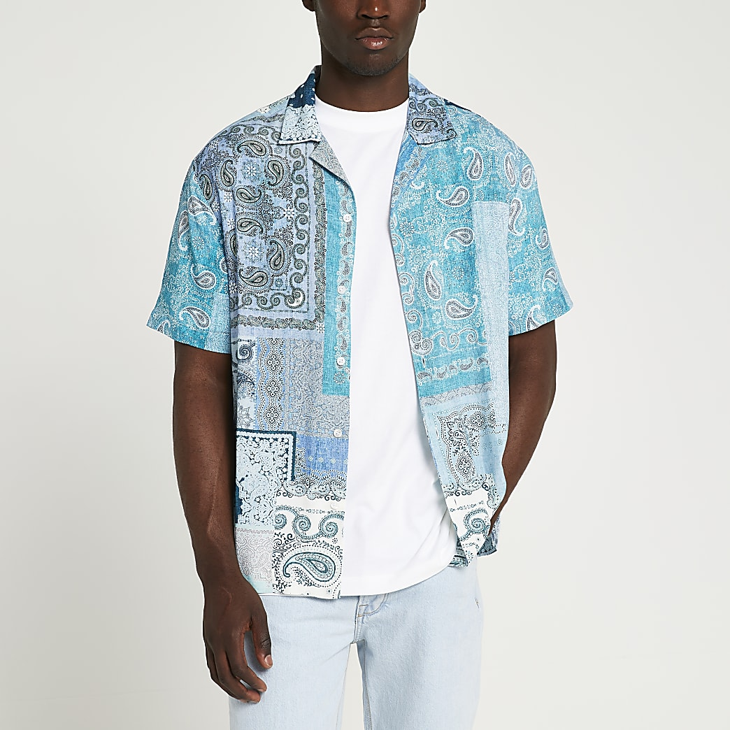 Blue paisley print short sleeve revere shirt