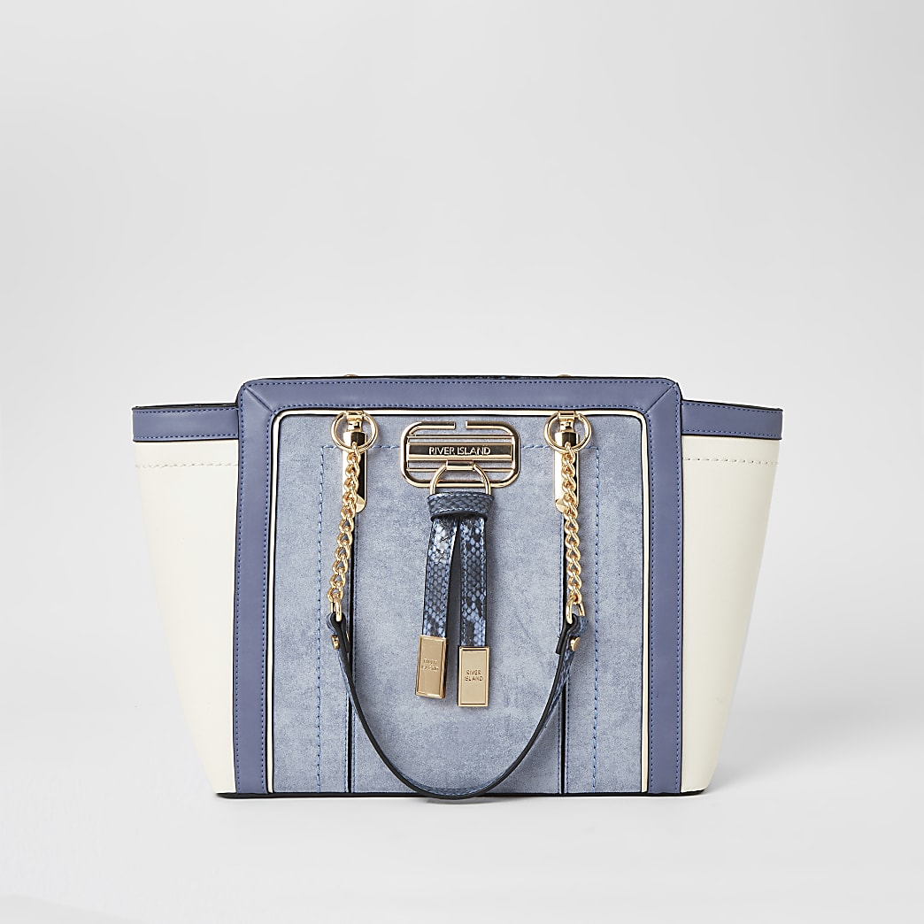 Blue panelled wing tote bag