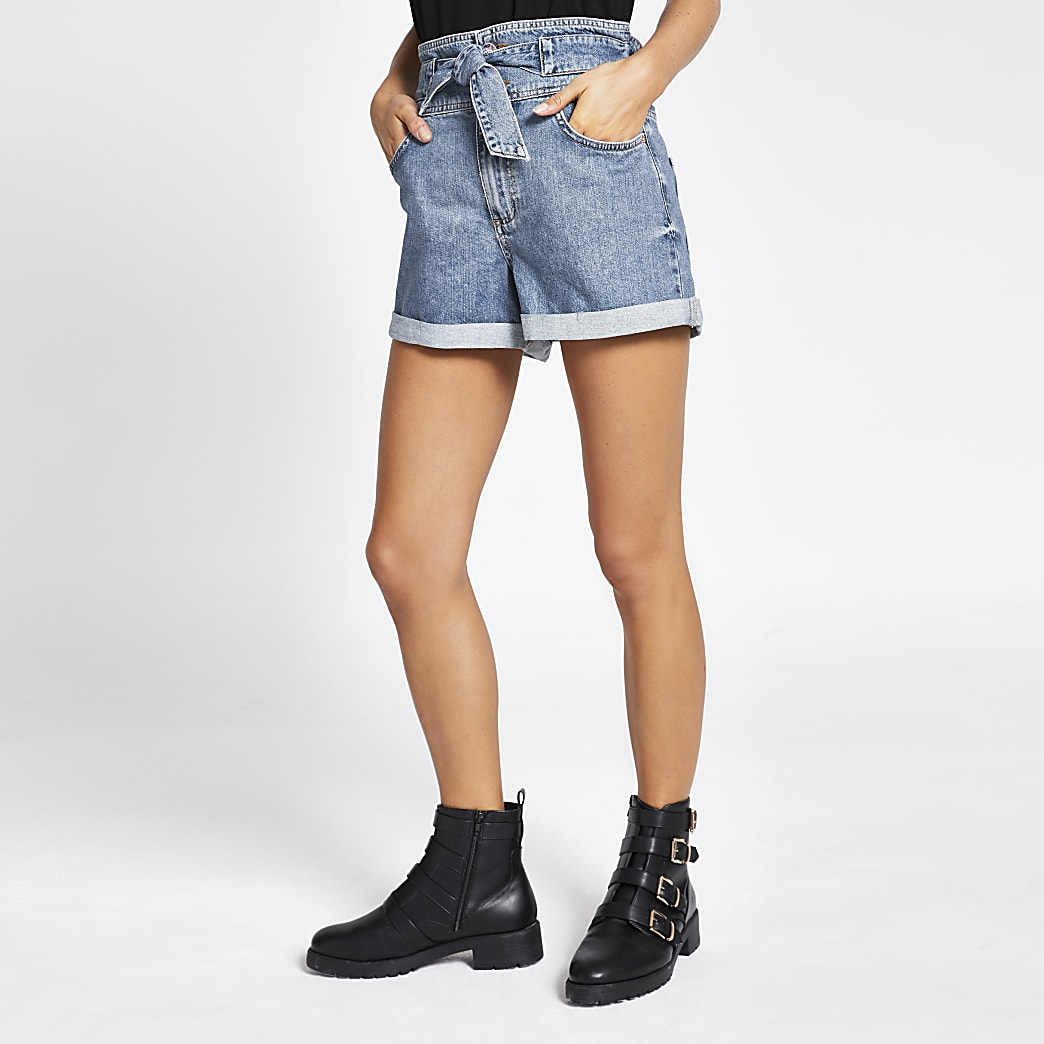Blue paperbag denim shorts
