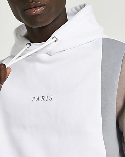 Blue Paris colour block hoodie