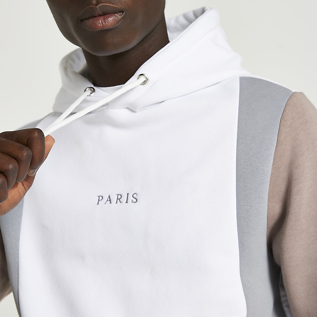 Blue Paris colour block hoodie