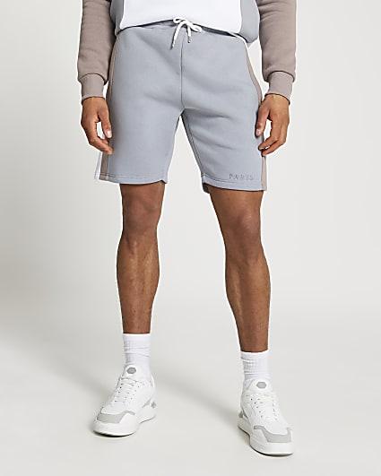 Blue Paris colour block shorts