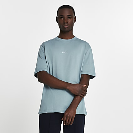 Blue 'Paris' oversized short sleeve t-shirt
