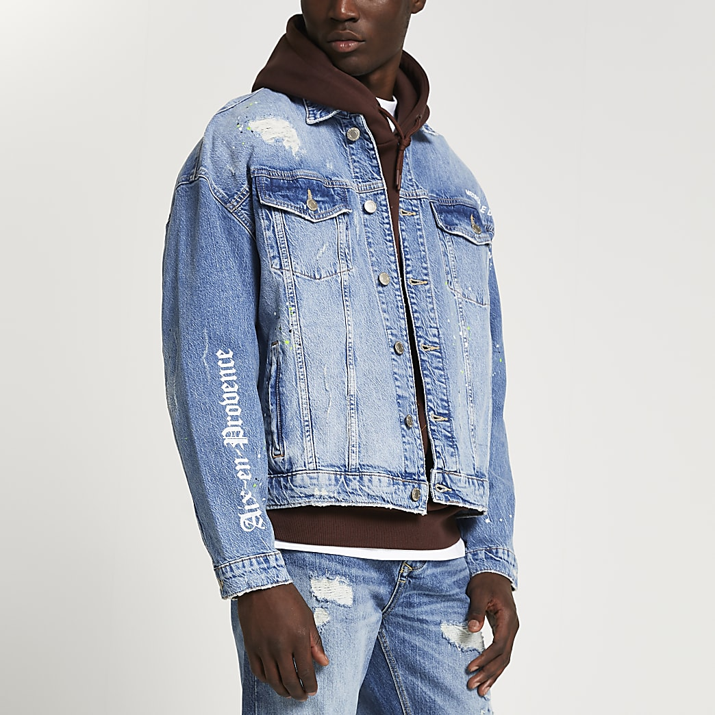 Blue 'PARIS' ripped denim jacket