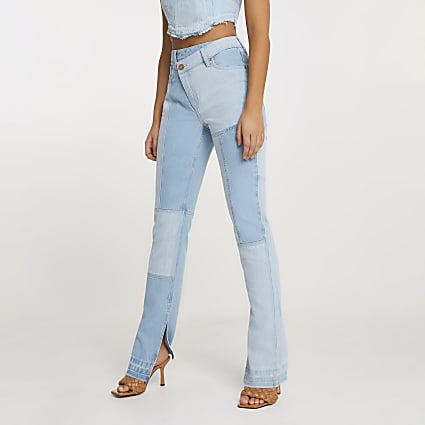 Blue patched high waisted straight jean