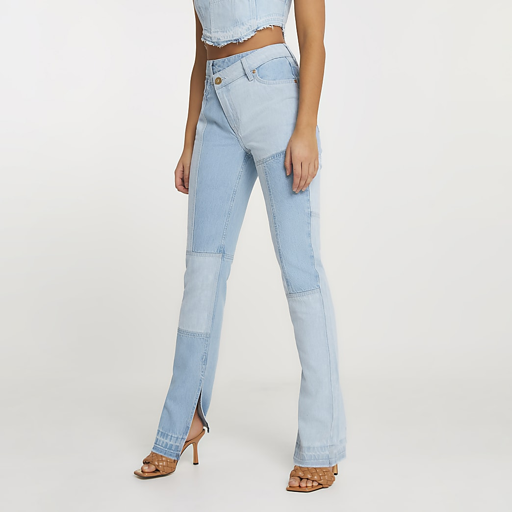 Blue patched high waisted straight jeans