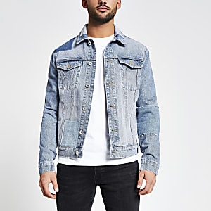 Blauw classic-fit denim jack met patchwork