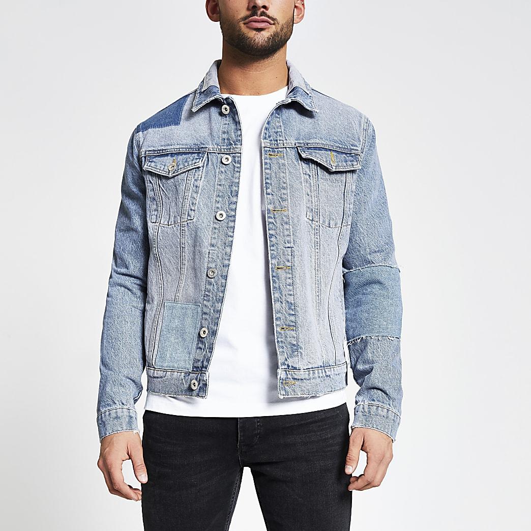 Blue patchwork classic fit denim jacket