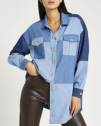 Blue patchwork denim oversized shirt