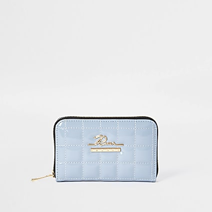 Blue patent quilted ziparound purse