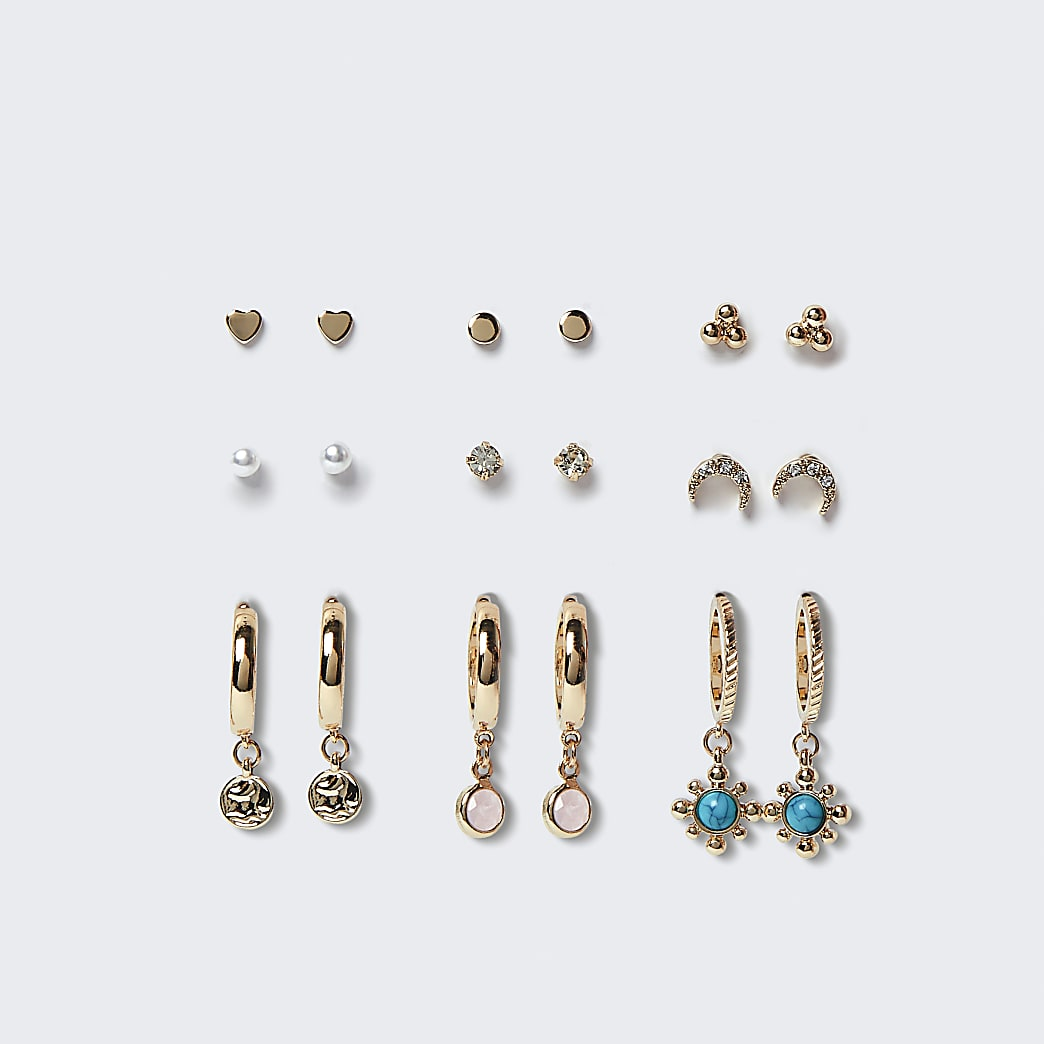 Blue pearl and stone earrings 9 pack