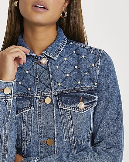 Blue pearl embellished denim jacket