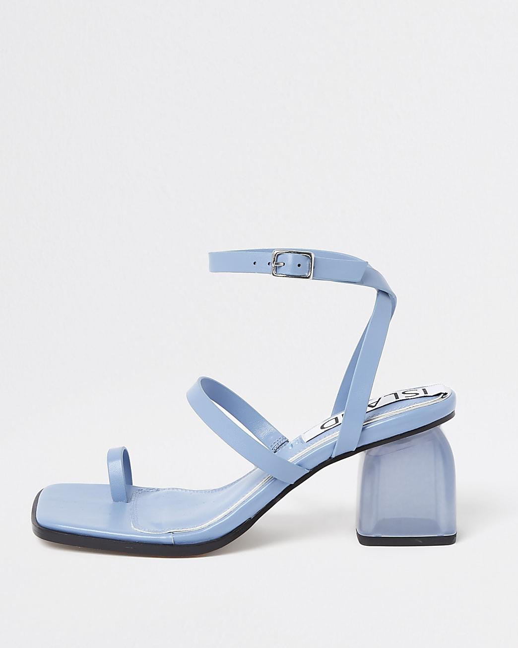 Blue perspex block heel sandals