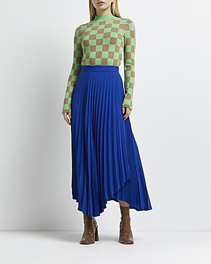 Blue pleated asymmetric wrap skirt