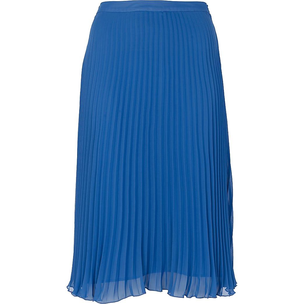 Blue pleated chiffon midi skirt