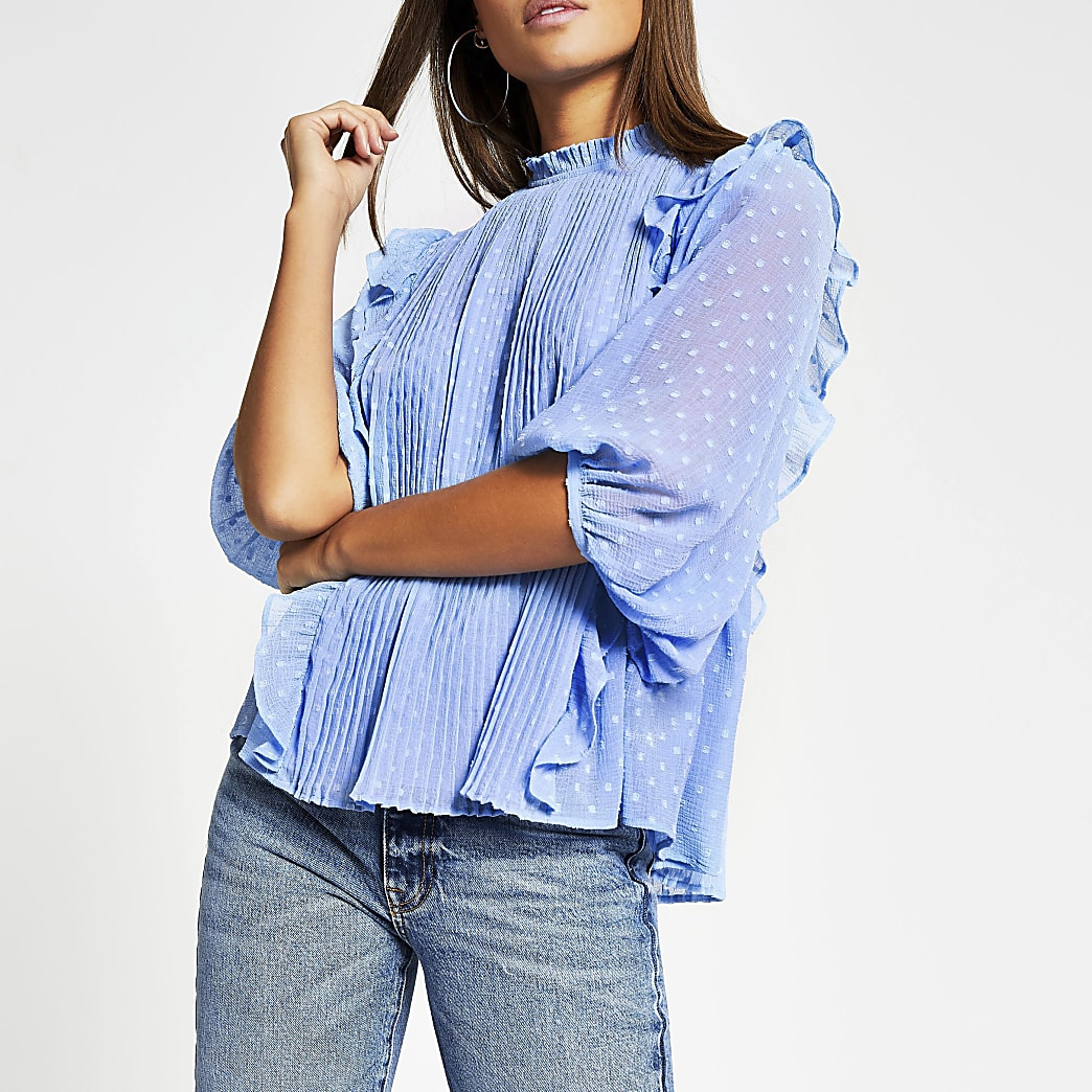 Blue pleated frill long sleeve blouse