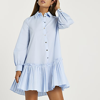 Blue pleated hem shirt dress