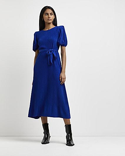 Blue pleated tie waist midi dress