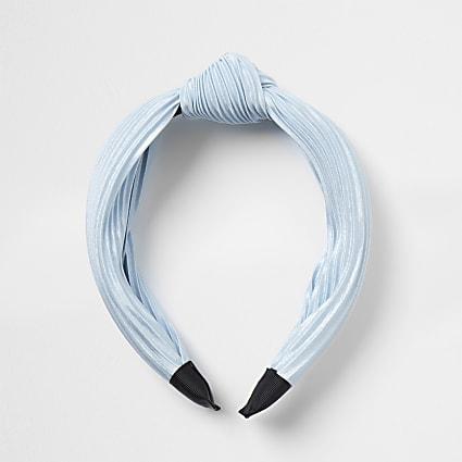 Blue plisse tie knot headband