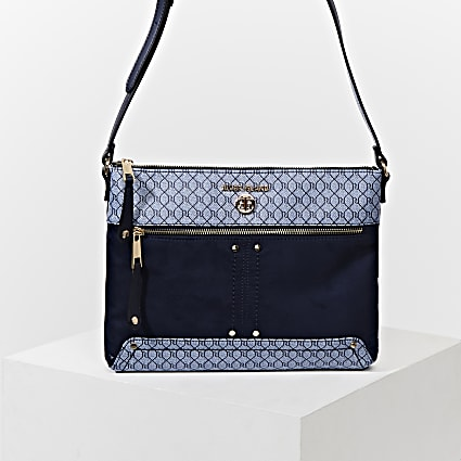 Blue pocket front cross body messenger bag
