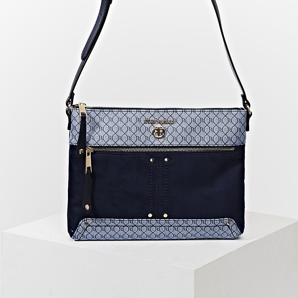 Blue pocket front cross body messenger bag