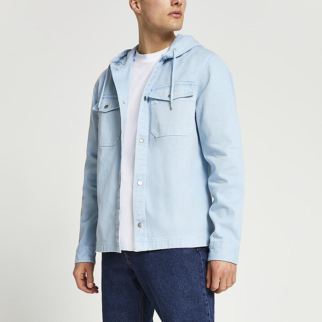 Blue pocket hooded long sleeve shacket