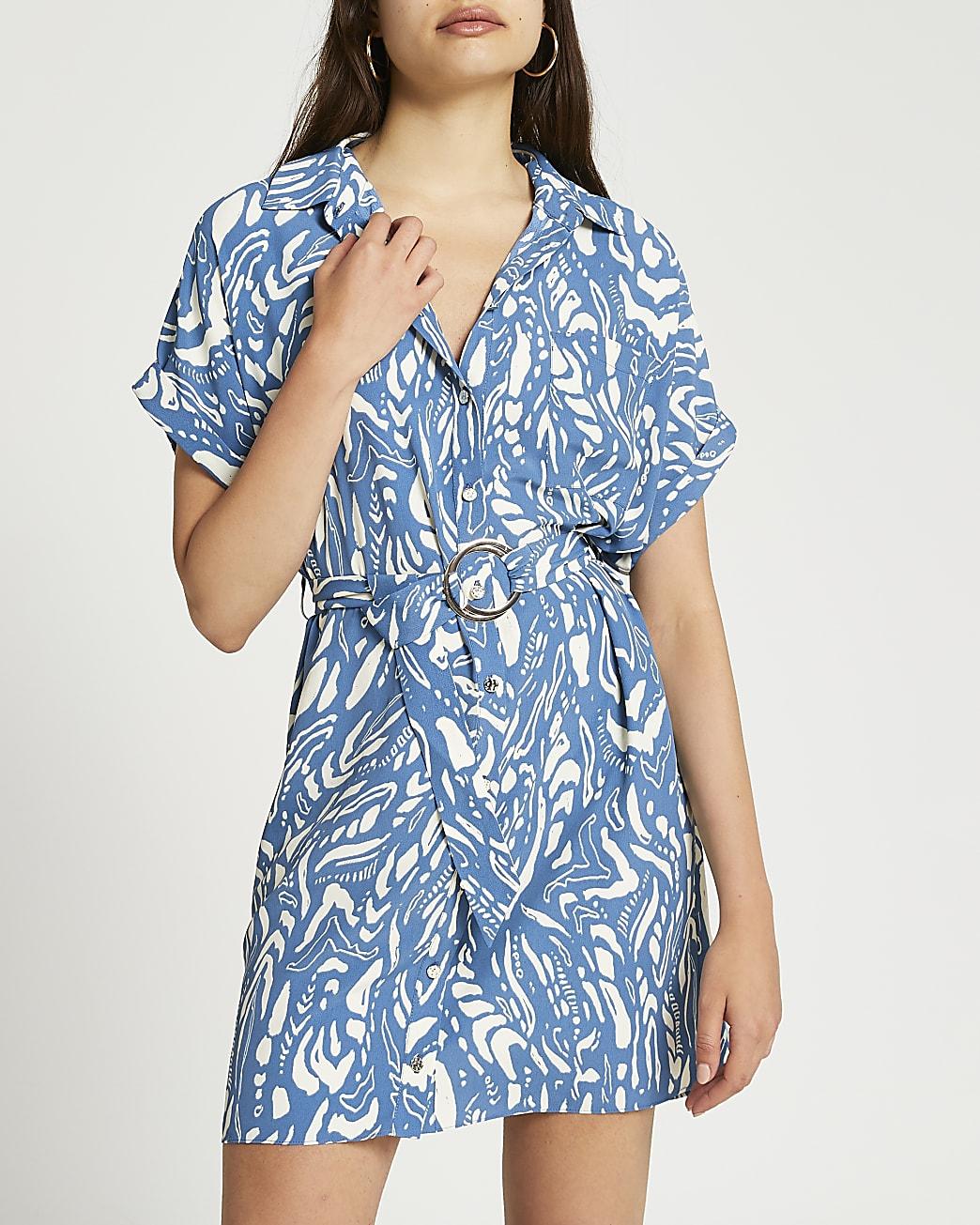 Blue print belted shirt dress