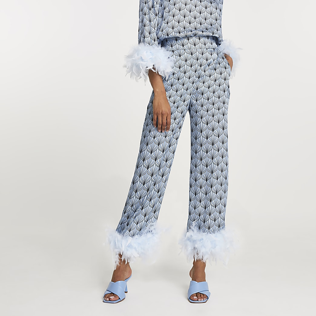Blue printed feather hem trousers