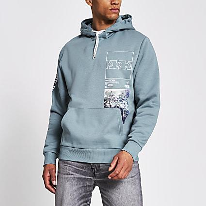 Blue printed long sleeve hoodie