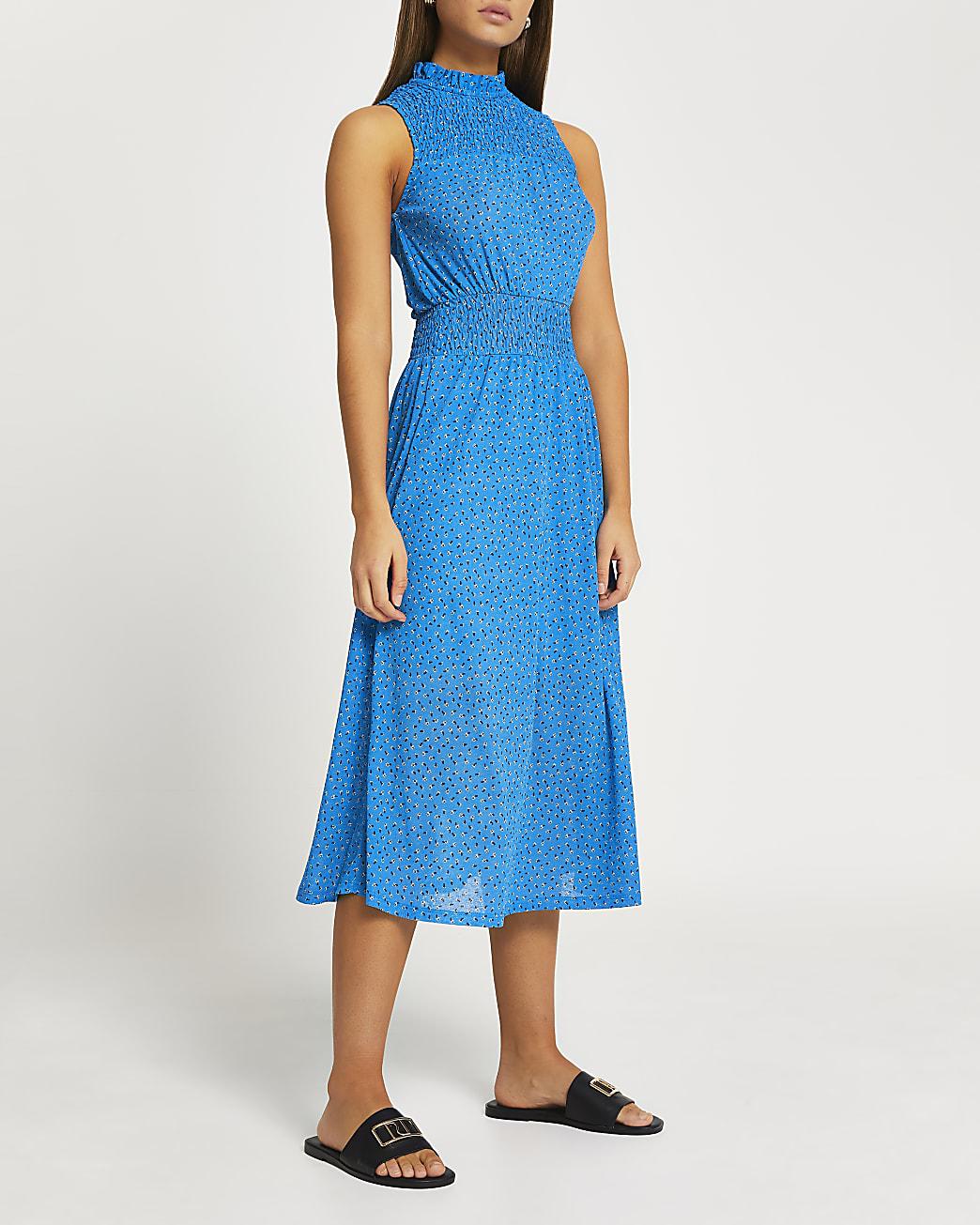 Blue printed shirred panel midi dress
