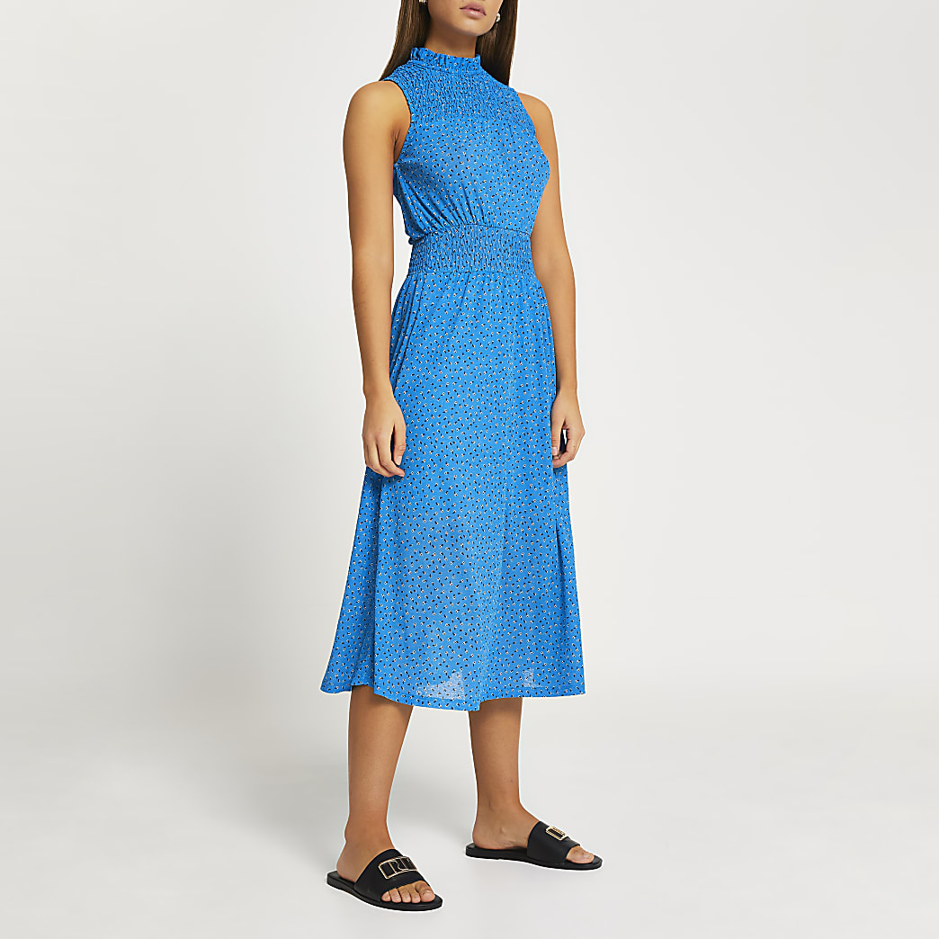 Blue printed shirred panel midi dress