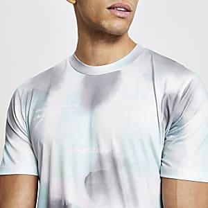 Blauw slim-fit T-shirt met korte mouwen en print