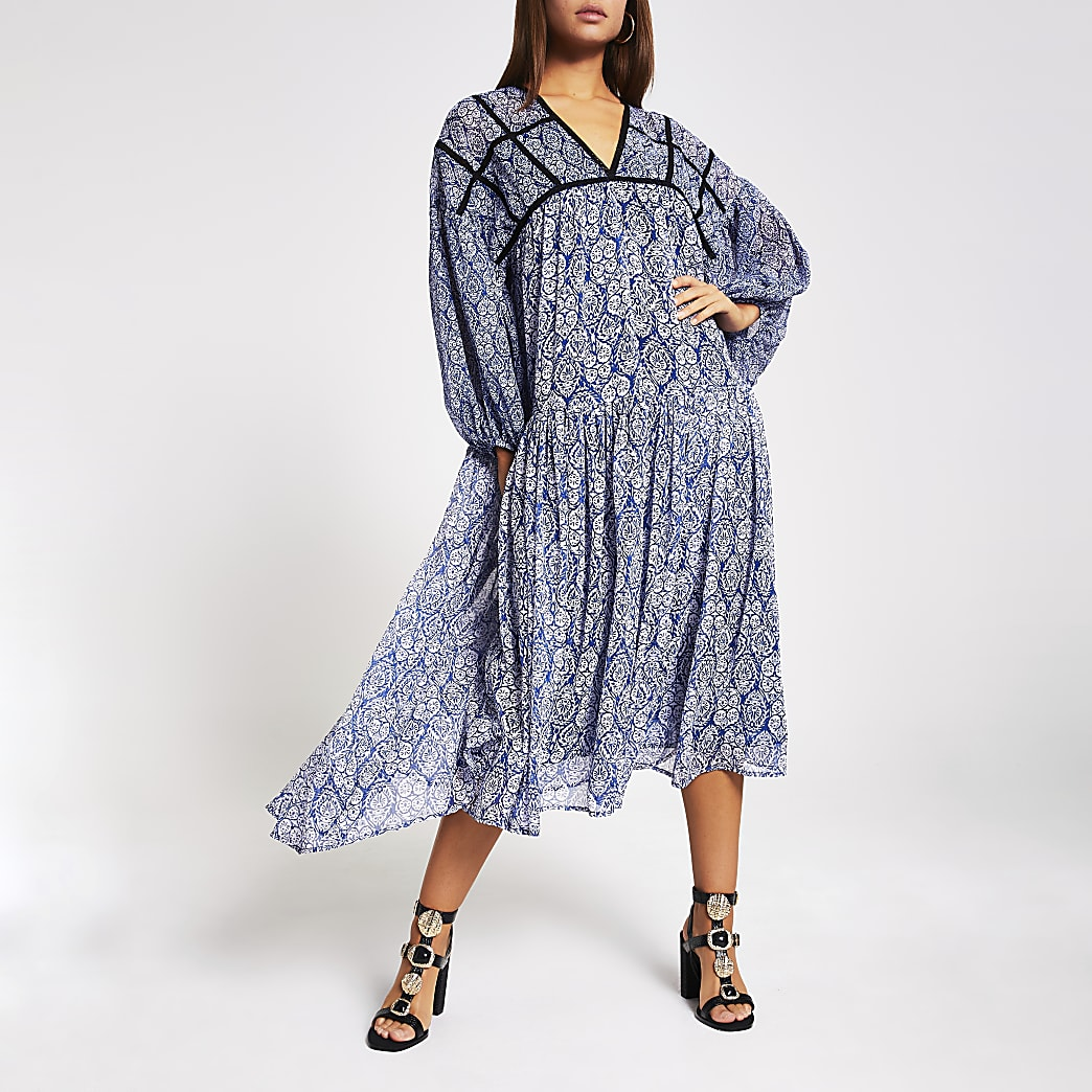 Blue printed smock midi dress