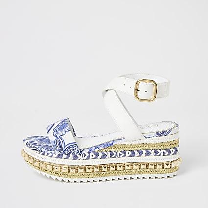 Blue printed studded flatform sandals