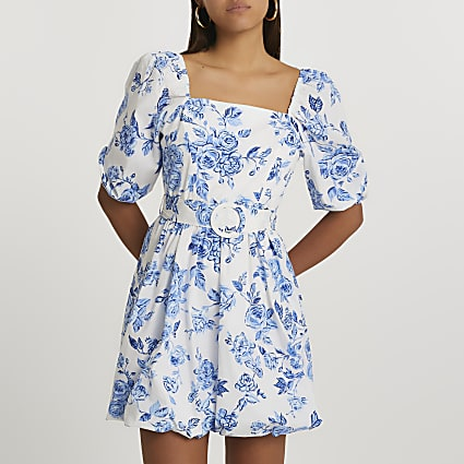 Blue puff sleeve floral belted mini dress