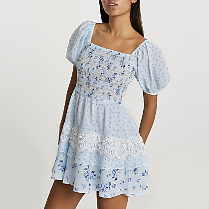 Blue puff sleeve floral check mini dress