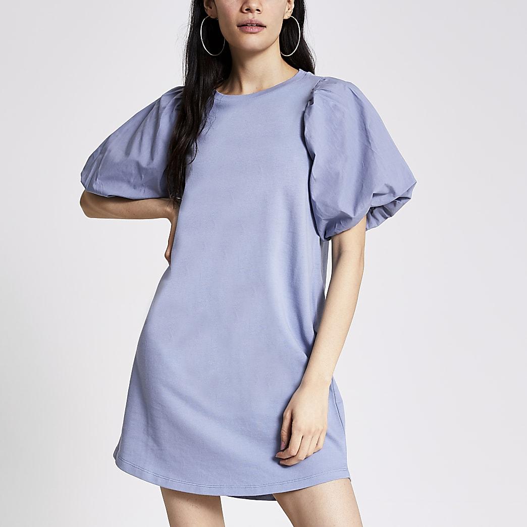 Blue puff sleeve mini sweatshirt dress