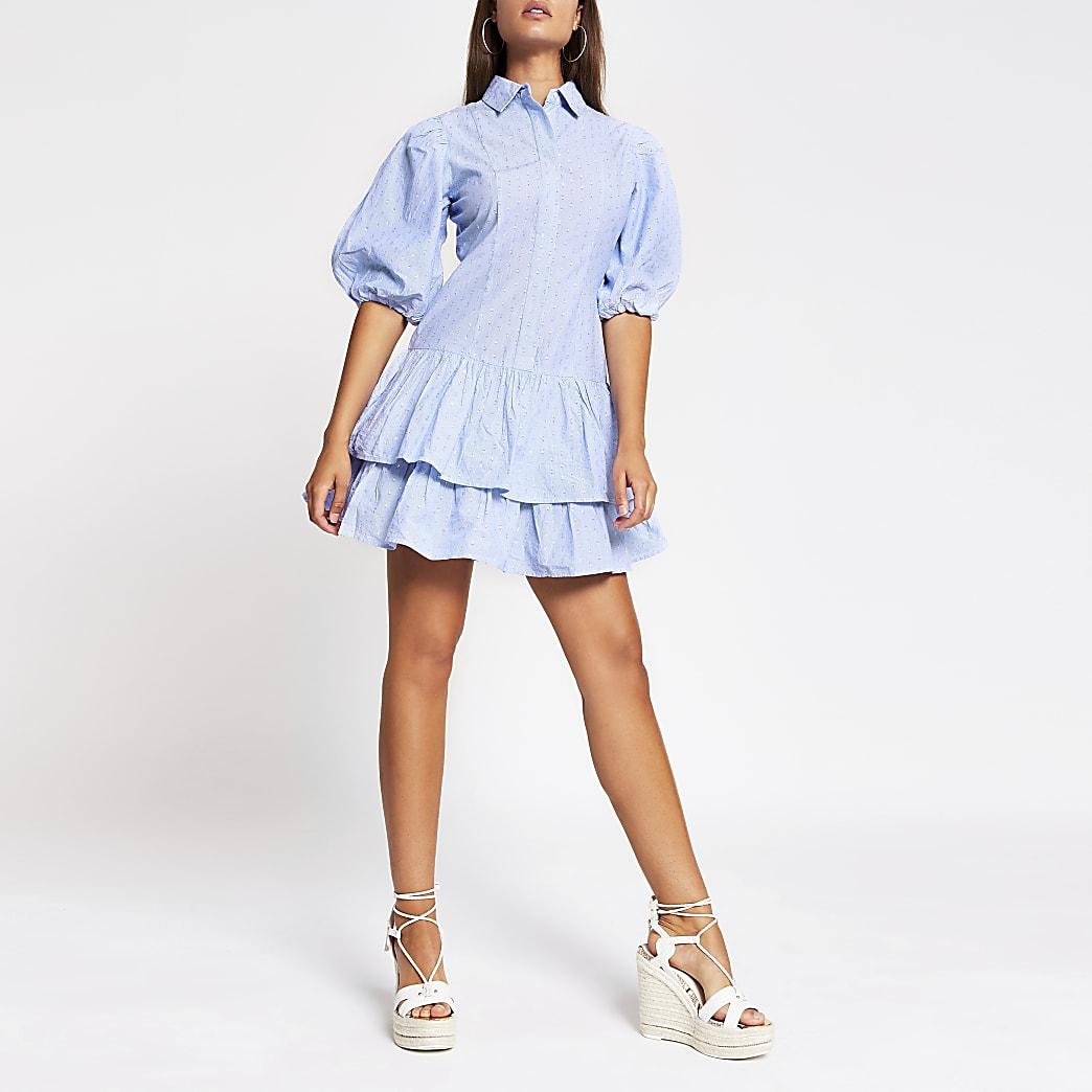 Blue puff sleeve shirt mini dress