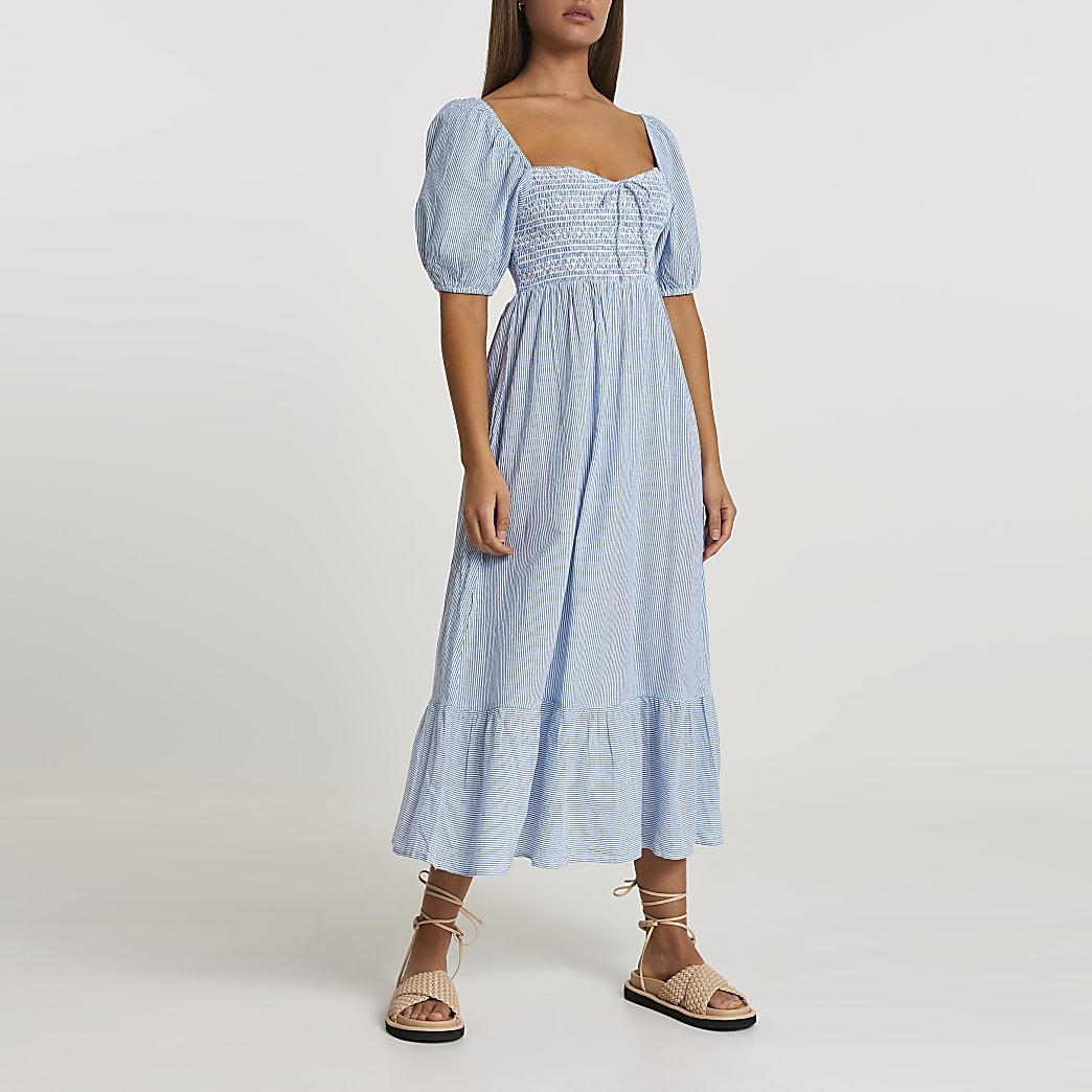 Blue puff sleeve smock midi beach dress