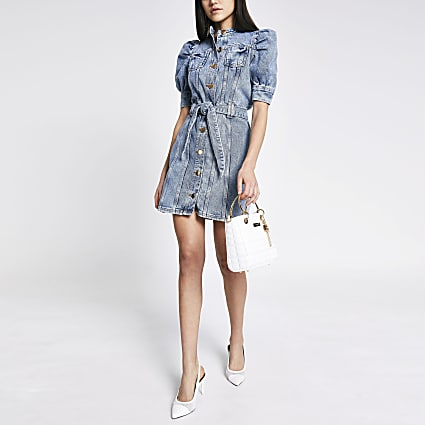 Blue puff sleeve tie belted mini denim dress