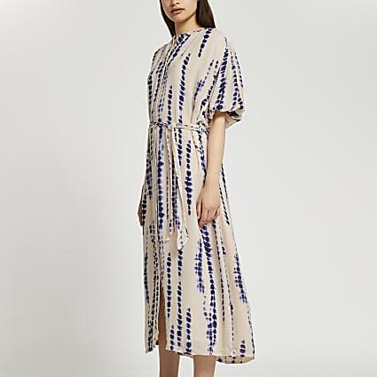 Blue Puff sleeve tie dye midi dress