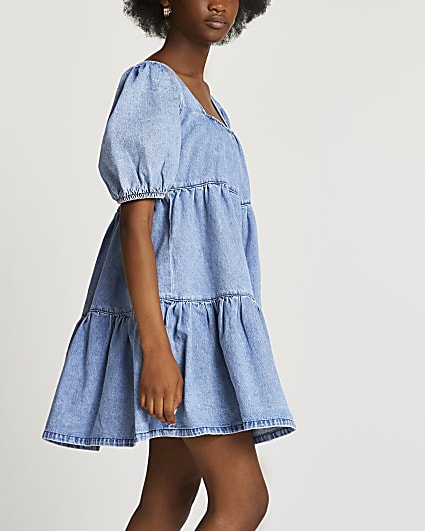 Blue puff sleeve tiered smock dress