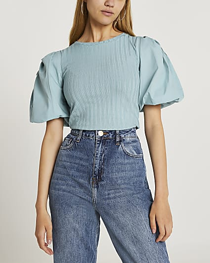 Blue puff sleeve top