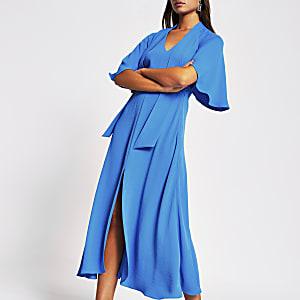 Blauwe waisted midi-jurk met strik