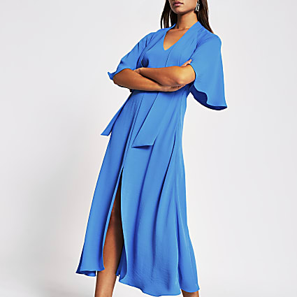 Blue pussybow waisted midi dress