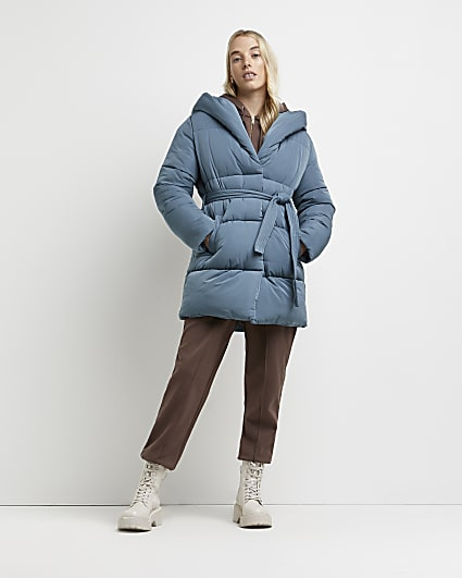Blue quilted belted puffer coat