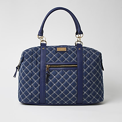 Blue quilted denim weekend bag