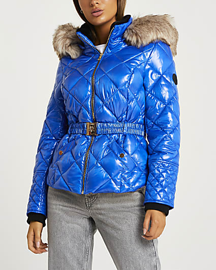 Blue quilted puffer coat