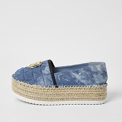 Blue quilted RI espradrille flatform sandals